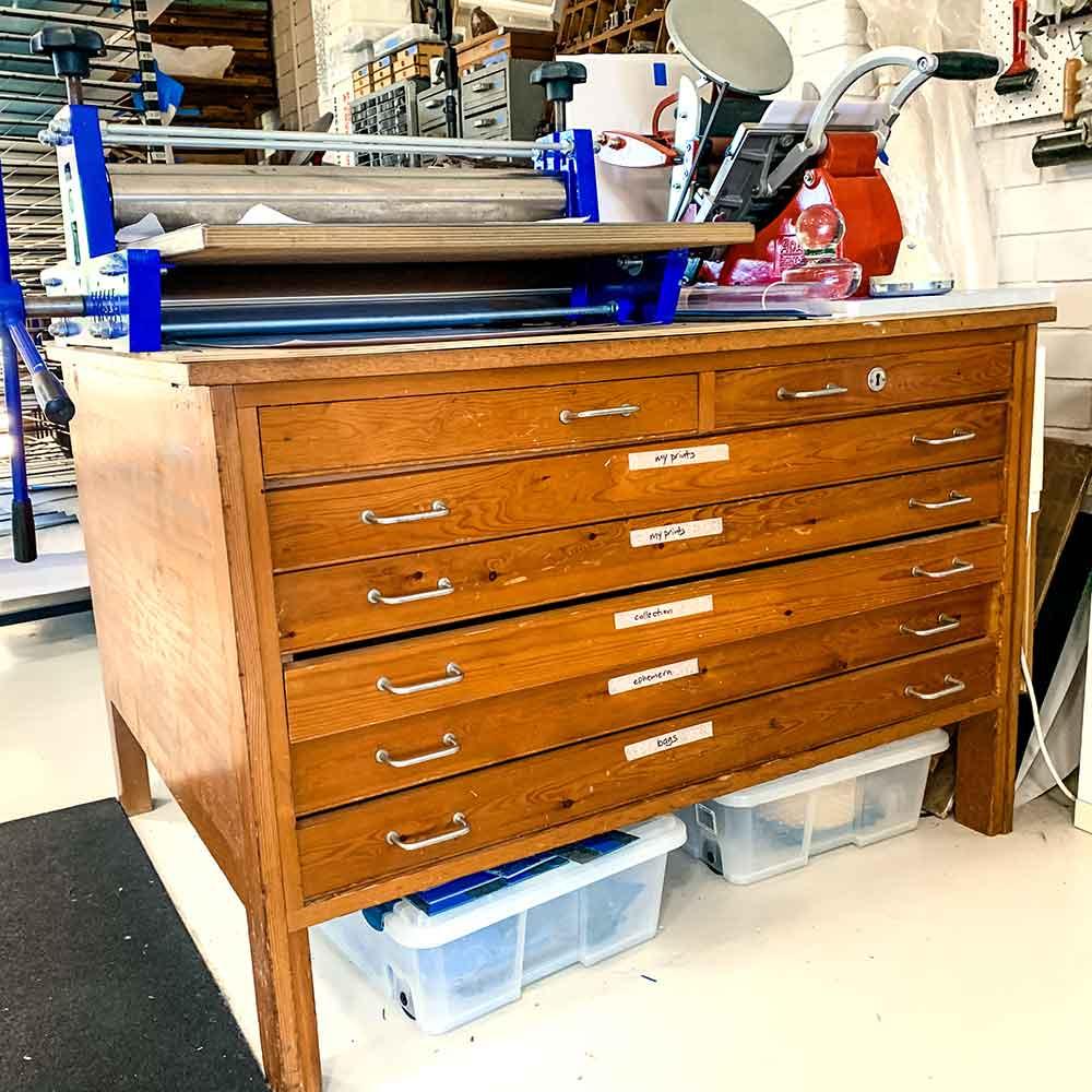 Printmaking paper drawers