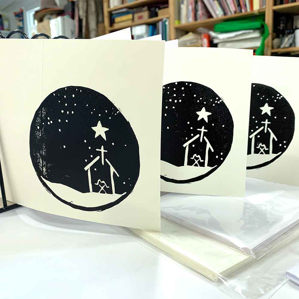 Print Your Own Christmas Cards linocut October 2021